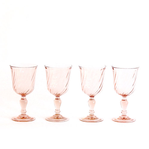 Rose Pink Swirl Wine Glasses, Set of 4