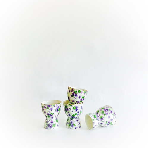 Violet Chintz Double Egg Cups, Set of 4