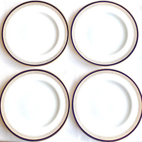 4 Vintage Spode Navy and Gold Dinner Plates set of 4
