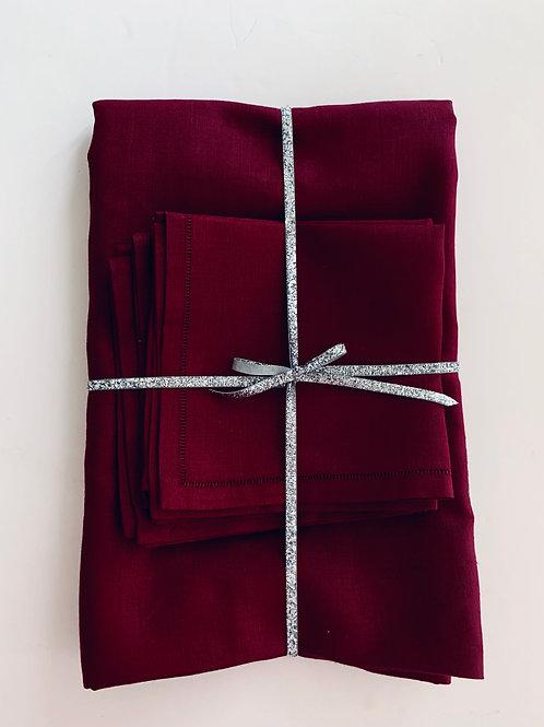 Burgundy Linen Tablecloth and Napkin Set