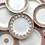 Thumbnail: Antique Fleur De Lys Bordered  Dinner Plates