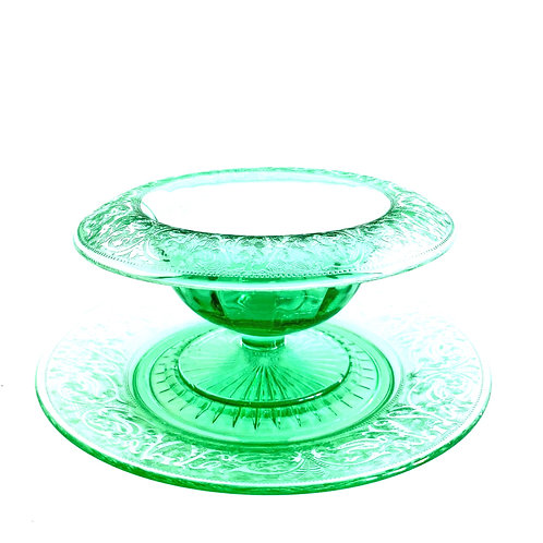 Antique Uranium Glass Footed Bowl and Plate