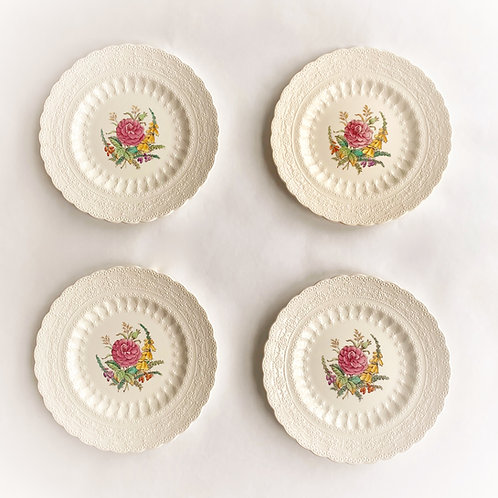 Spode Creamware Wild Rose Bread and Butter Plates, Set of 4