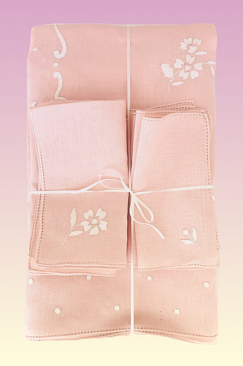 Blush Handmade-Embroidery  Rectangular Tablecloth and Napkin Set for 12