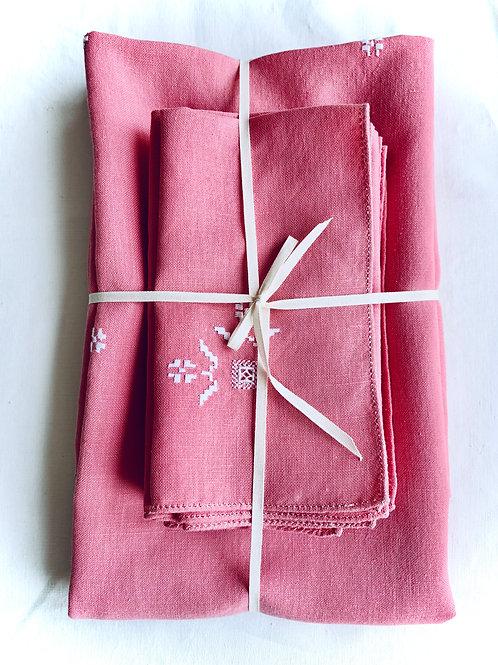 Folk Blossom  Linen  Tablecloth and Napkin Set