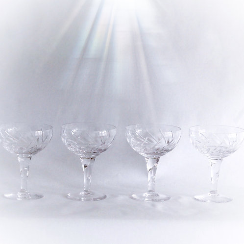 Swirl Crystal Champagne Coupes, Set of 4