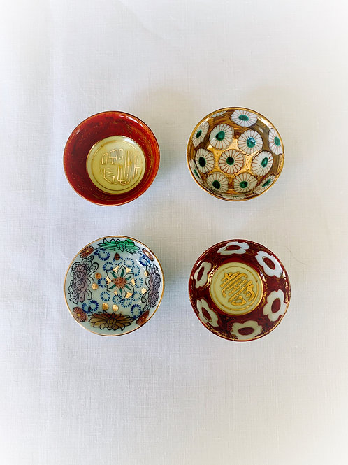 Hand Painted Japanese Salt Bowls, Set of 4