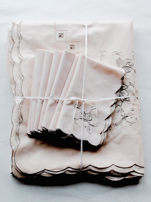 Wild Rose Hand Embroidered Linen Tablecloth and Napkin Set for 12