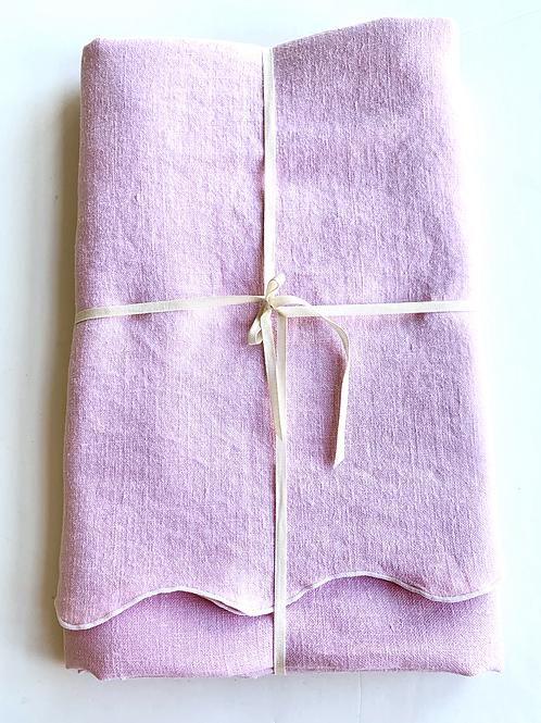 Wavey Edge Large Rectangular Pink Linen Tablecloth