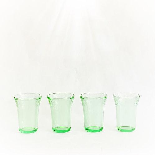 Green Vaseline  Tumblers, Set of 4