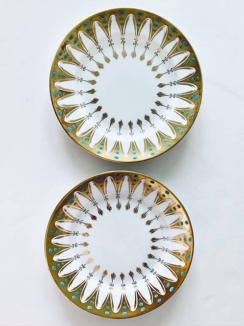 Pair of Vintage Gold Embossed Dessert Plates
