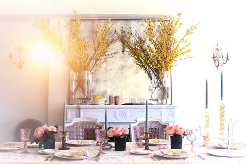 Wild Rose Tablescape for up to 12