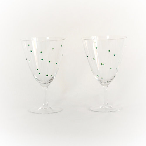 Pair of Dot and Swirl Etched Wine Glasses