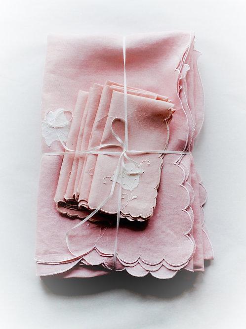 Pretty Pink Madeira Linen Set for 8