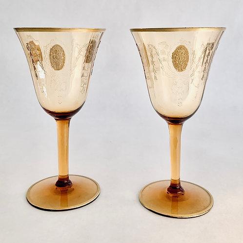 Vintage Pair of Amber Claret Glasses