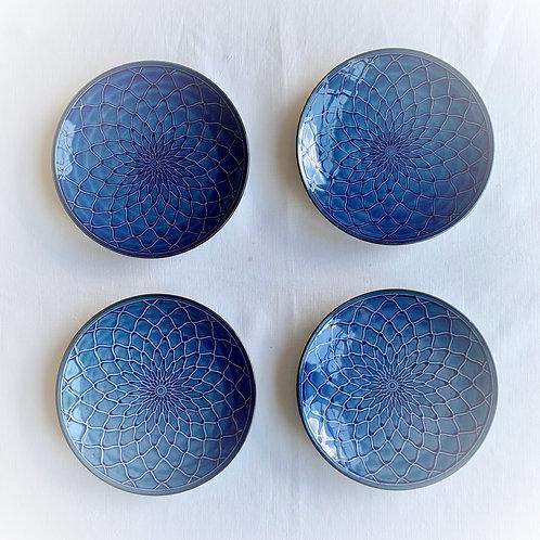 Indigo Lotus Plates set of 4