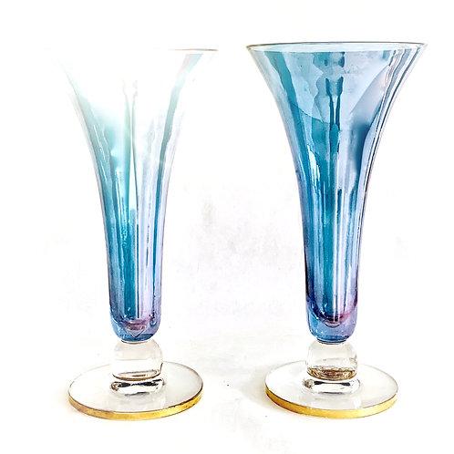 Art Deco Fluted Vases Pair