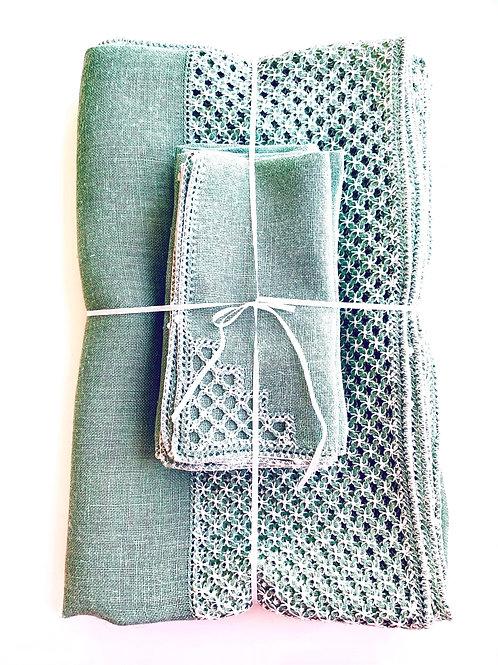 Rectangular Spring Green Venetian Linen Tablecloth and Napkins Set