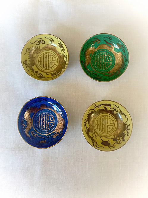 Hand Painted Japanese Dragon Salt Bowls, Set of 4