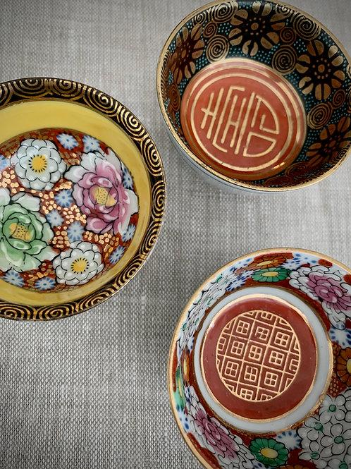 Hand Painted Japanese Salt Bowls, Set of 3