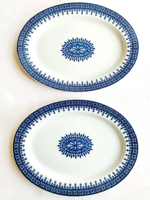 Antique Cobalt Transferware Platters