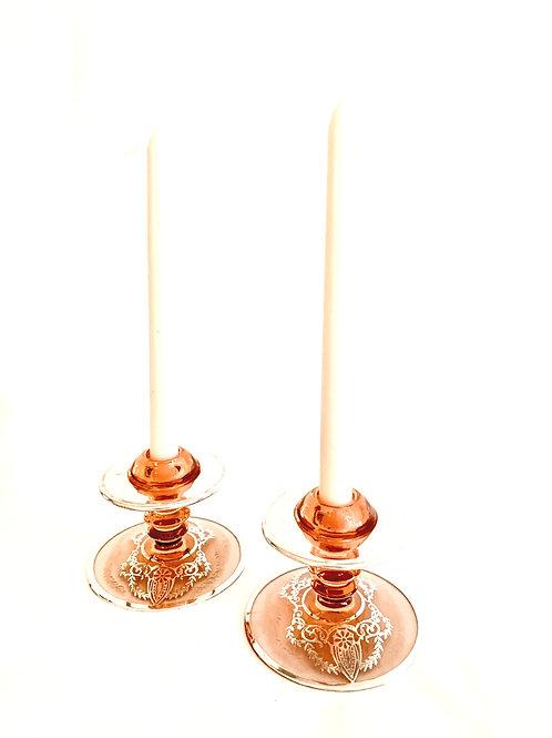Pair of  Rose Deco Candlesticks