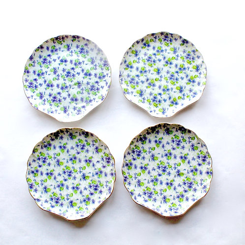 Violet Chintz Snack Plates, Set of 4