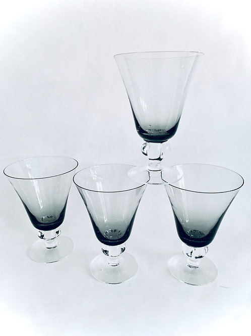 Set of Smoke Glass Goblets