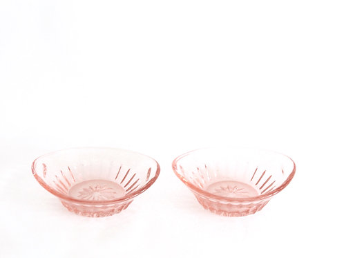 Pair of Pink Glass Salt and Pepper Bowls