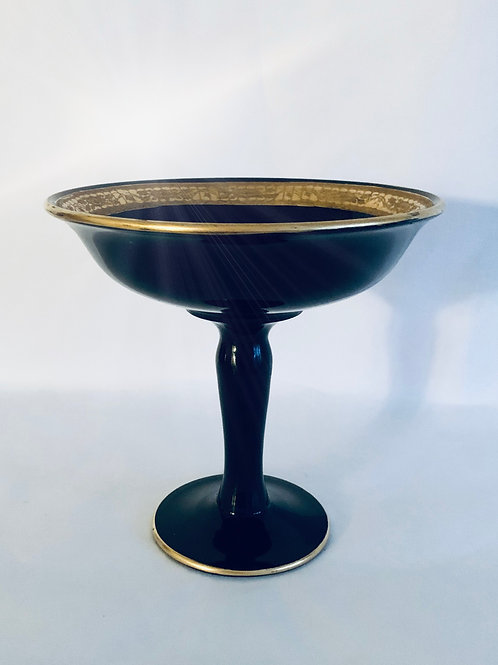 Antique Ebony Art Deco  Compote