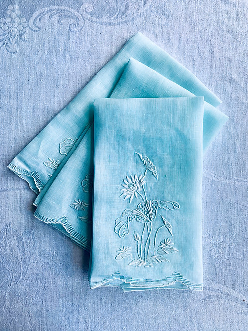 Minty set of Handmade- Embroidered Hand Towels