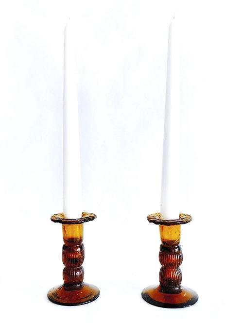 Pair of Amber Candlesticks