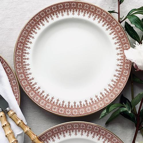 Antique Fleur De Lys Bordered  Dinner Plates