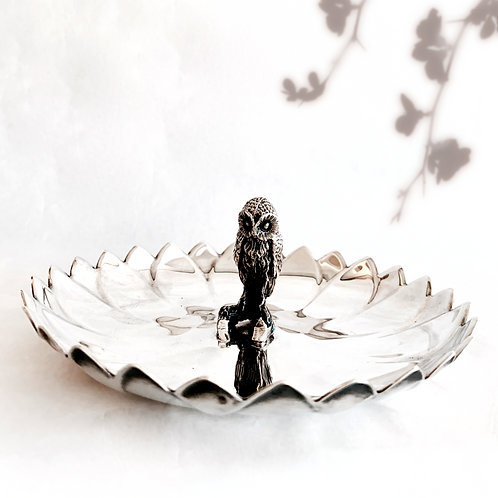 Vintage Silver Owl Candy Dish