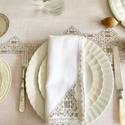 Antique Italian Hand Embroidered Rectangular Tablecloth and Napkins Set