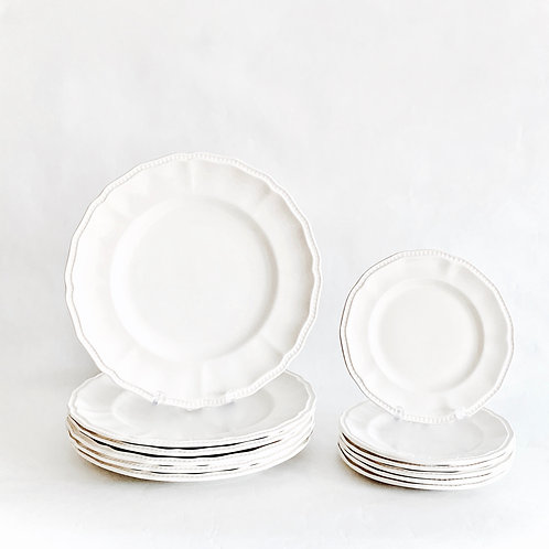 White Staffordshire Dinner Set for 6
