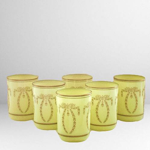 French Yellow Opaline Tumblers Set
