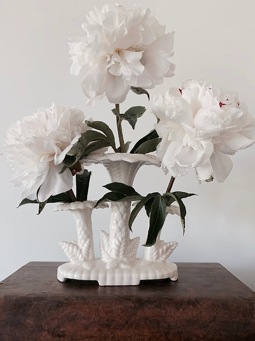 White Palm Epergne Vase