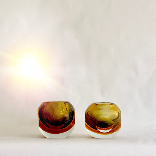 Pair of Amber Bowl Vases