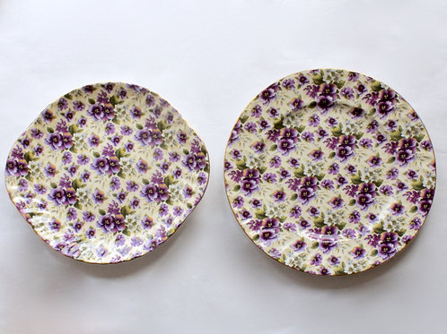 Pair of Violet Chintz Cake Plates