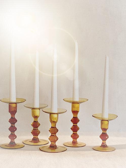 Amber Salem Candlesticks, Set of 5