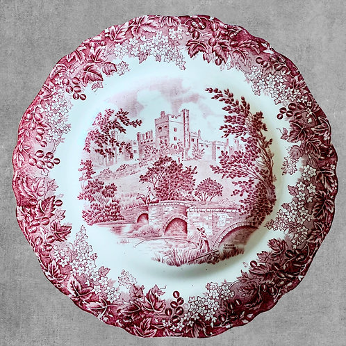 Vintage Red Transferware Complete Dinner and Serveware set for 8