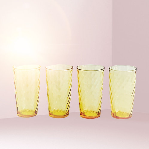 Amber Swirl Water Glasses, Set of 6