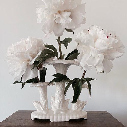 White Palm Epergne Vase