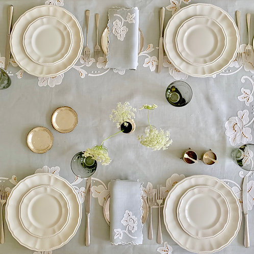 Rectangular Silver Handmade-Embroidery  Tablecloth and Napkin Set