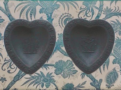 Pair of Wedgwood Black Basalt Heart-Shaped Bowls