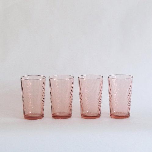 Rose Pink Swirl Water Tumblers, Set of 4