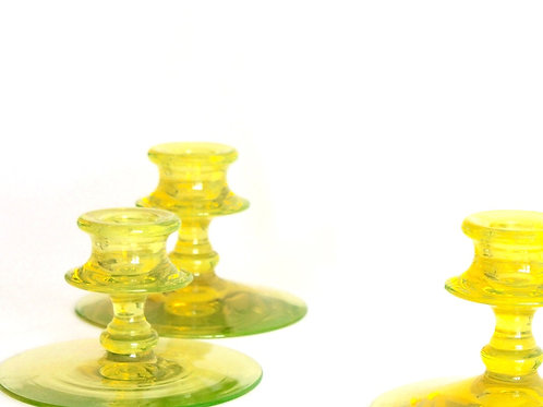 Canary Yellow Vaseline Glass Candlesticks, Set of 3