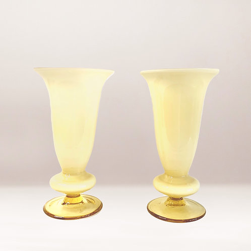 Pair of French deco opaline vases