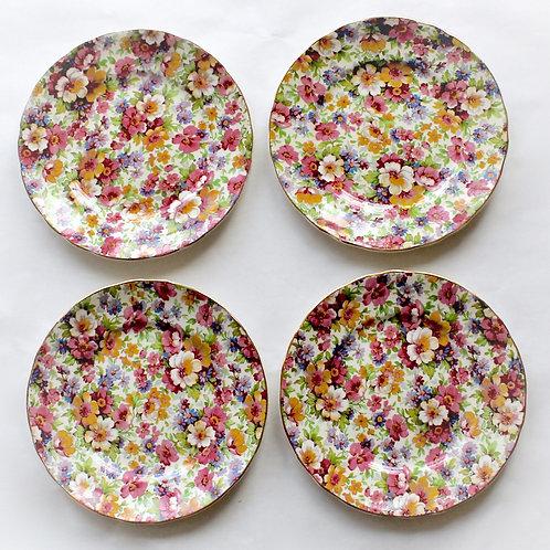 Summertime Chintz Dessert Plates, Set of 4